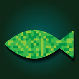 Mosaic Fish Vector Illustration. Green Mosaic Fish Vector Illustration. Fishing or Seafood Template for Design Stock Photography