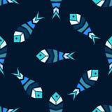 Mosaic fish vector seamless pattern Stock Photo