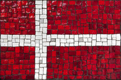 Mosaic flag of Denmark Stock Photo