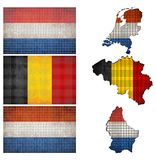 Mosaic flags and map of Benelux Royalty Free Stock Photo