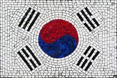Mosaic flag of South Korea. Old mosaic flag of South Korea close up royalty free stock photos