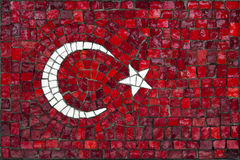 Mosaic flag of Turkey. Old mosaic flag of Turkey close up stock image