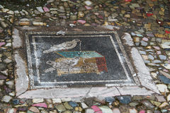 Mosaic on the floor in the ancient city of Pompeii, Italy. Mosaic on the floor in the ancient city of Pompeii, which was destroyed during the eruption of Royalty Free Stock Photography
