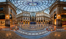 Mosaic Floor and Glass Dome in Galleria Vittorio Emanuele II in Royalty Free Stock Photos