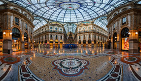 Mosaic Floor and Glass Dome in Galleria Vittorio Emanuele II in Royalty Free Stock Image