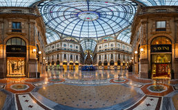 Mosaic Floor and Glass Dome in Galleria Vittorio Emanuele II in Royalty Free Stock Images