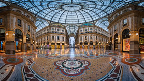 Mosaic Floor and Glass Dome in Galleria Vittorio Emanuele II Royalty Free Stock Photo