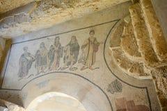 Mosaic floor of Roman villa stock photo