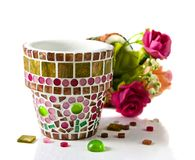 Mosaic flower pot Royalty Free Stock Images