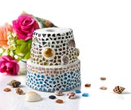 Mosaic flower pot Royalty Free Stock Photos