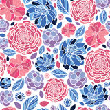 Mosaic flowers seamless pattern background Stock Photo