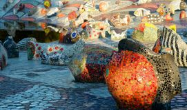 A mosaic fountain. Royalty Free Stock Images