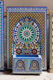 Mosaic and Fountain. Factory traditional mosaics in Morocco Stock Images
