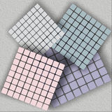 Mosaic with four squares. Boards of disharmony, stone slabs, mosaic fraction, marl substrate, disharmonious cubes Stock Photo