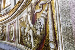 Mosaic Fragment of the Interior of the The Papal Basilica of St. Peter in Vatican. Vatican - August 24, 2018: Mosaic Fragment of the Interior of the The Papal stock images