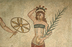 Mosaic fragment Roman Villa Romana del Casale Royalty Free Stock Images