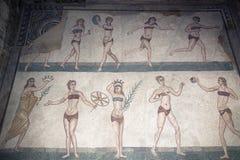 Mosaic fragment Roman Villa Romana del Casale Royalty Free Stock Photos