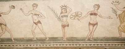 Mosaic fragment Roman Villa Romana del Casale, Sicily. UNESCO Wo Royalty Free Stock Photo