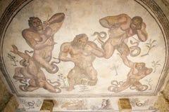 Mosaic fragment Roman Villa Romana del Casale, Sicily. UNESCO Wo Royalty Free Stock Images