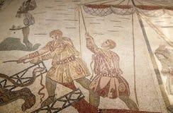 Mosaic fragment Roman Villa Romana del Casale, Sicily Royalty Free Stock Photos
