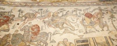 Mosaic fragment Roman Villa Romana del Casale, Sicily Royalty Free Stock Photo