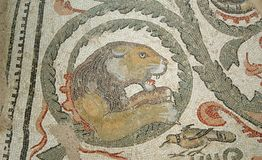 Mosaic fragment Roman Villa Romana del Casale, Sicily Royalty Free Stock Image