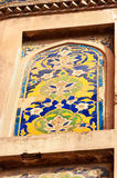 Mosaic fragment on the wall of Red Agra Fort Royalty Free Stock Photography