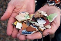 Mosaic fragments. A handful broken mosaic fragments stock image