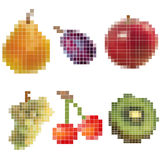 Mosaic fruits. Collection of pixelated fruits - vector illustration vector illustration