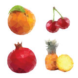 Mosaic fruits pinapple garnet cherry orange. Low poly set Stock Images