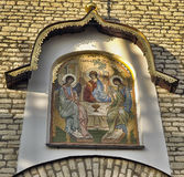 Mosaic gate icon Old Testament Trinity designed by E. Klimov and made in 1942 in Germany Royalty Free Stock Photography