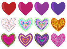 Mosaic geometric design set with valentine`s hearts. stock photos