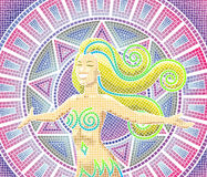 Mosaic Girl light colours. A happy smiling goddess on an ancient mosaic background royalty free illustration