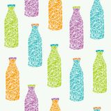 Mosaic glass bottles vector seamless pattern. Beverages design background in colors of orange, blue, green and purple. Art drinks colorful texture stock illustration