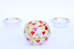 Mosaic glass candle holders Royalty Free Stock Image