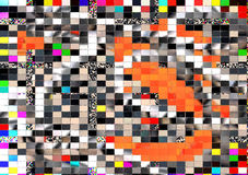 Mosaic glass silver and orange abstract background. Mosaic glass white, black, yellow, red and silver abstract background with blue and gray hues. Abstract Vector Illustration