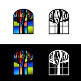 Mosaic Glass Window Design Set Royalty Free Stock Photo
