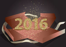 2016 of mosaic golden glitter in present box.Happy New Year and Merry christmas vector background. 2016 design made of mosaic glitter in present box with ribbon stock illustration