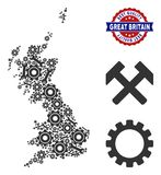 Mosaic Great Britain Map of Service Tools. Repair workshop Great Britain map collage of service tools. Abstract territorial plan in gray color and best quality royalty free illustration