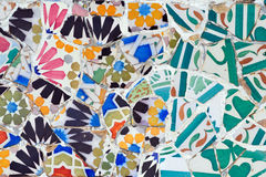 Mosaic in Guell park in Barcelona Stock Photo