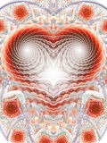 Mosaic heart. Abstract fantasy ornament on white background. Computer-generated fractal in red, grey and brown colors vector illustration