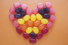 Mosaic heart candy. Mosaic made of candy in the shape of a heart Stock Image