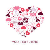 Mosaic heart card for Valentines Day with place for text. Stock Image