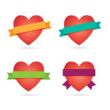 Mosaic Heart Labels. Stock Photo