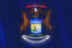 Mosaic heart tiles painting of Michigan flag royalty free illustration