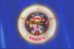 Mosaic heart tiles painting of Minnesota flag vector illustration