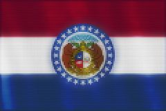 Mosaic heart tiles painting of Missouri flag stock illustration