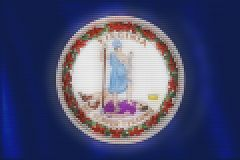 Mosaic heart tiles painting of Virginia flag vector illustration