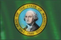 Mosaic heart tiles painting of Washington flag vector illustration