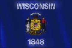 Mosaic heart tiles painting of Wisconsin flag royalty free illustration